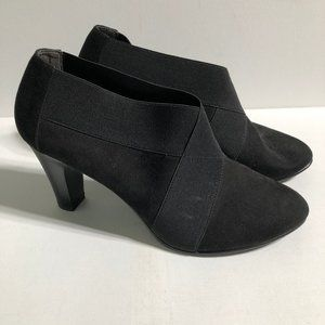 Coach and Four Faux Suede Heeled Booties-Sz 10